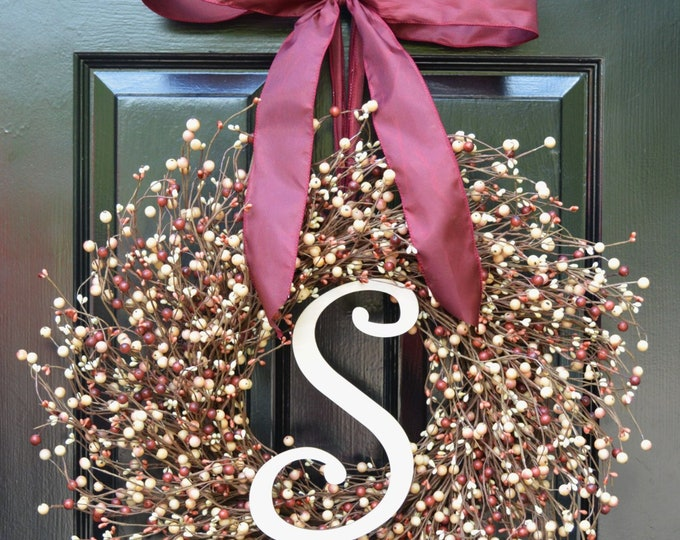 Front Door Wreath- Valentines Day Wreath- Fall Wreath- Christmas Wreath- Cream Burgundy Berries-Year Round Decoration- Winter Decor- Autumn