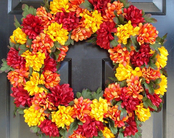 Autumn Mums Fall Wreath for Outdoor, Thanksgiving Wreath, Fall Wreaths, Silk Mums Wreath, Fall Decor, Large 22 inch Door Wreath