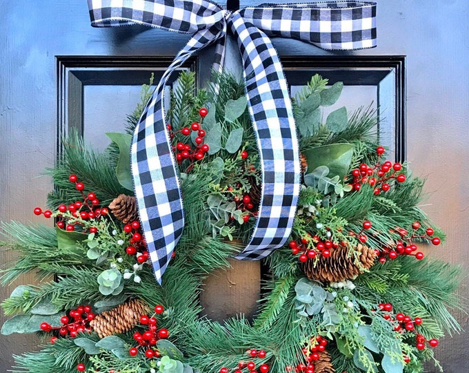 Quick Ship Farmhouse Christmas Wreath Front Door Berry Christmas Wreath Artificial Eucalyptus Magnolia Pine Wreath 24 SHOWN Outdoor Wreath