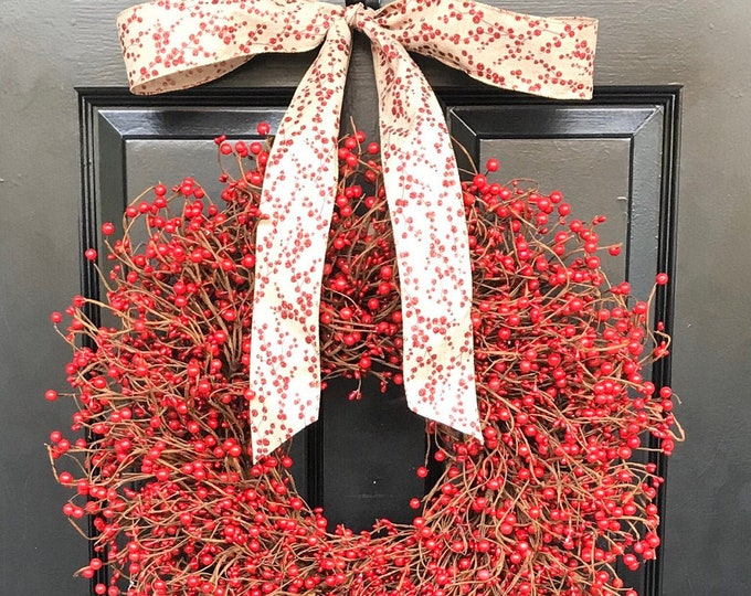 Christmas Wreath Front Door Holiday Wreath Winter Valentine's Day Wreath Red Berry Door Wreath Berry Wreath Red Berry Fall Wreath XL