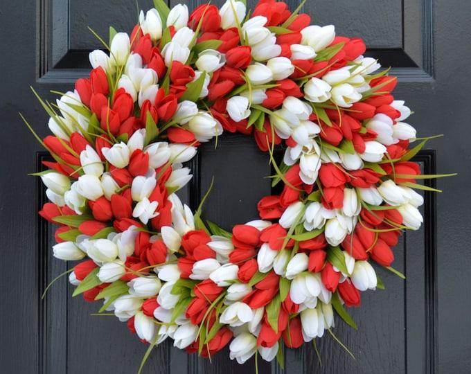 Spring Wreath- Tulip Spring Wreath- Valentine's Day Wreath- Red and White Valentine Decor