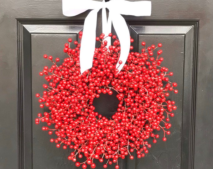 Mini Red Berry Christmas Wreath- Waterproof Red Berry Wreath- Outdoor Window Winter Wreath- Valentine Day Wreath Red Decor