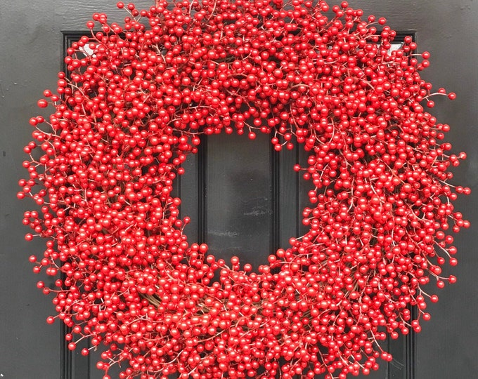 Outdoor Red Berry Christmas Wreath, Weatherproof Berry Christmas Wreaths Durable Winter Wreath, Christmas Wreath for Front Door 12-28 inches