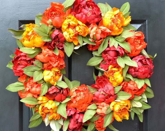 The Original Fall Colors Peony Wreath, Fall Wreath, Monogram Wreath for Front Door, Autumn Fall Decor, 24 inch SHOWN Fall Wedding FREE SHIPP
