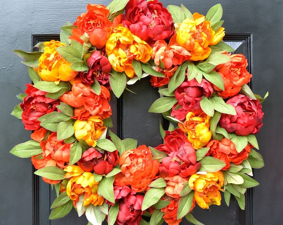 Fall Colors Peony Wreath, Fall Wreath, Monogram Wreath for Front Door, Autumn Fall Decor, 23-24 inch SHOWN Fall Wedding Wreath