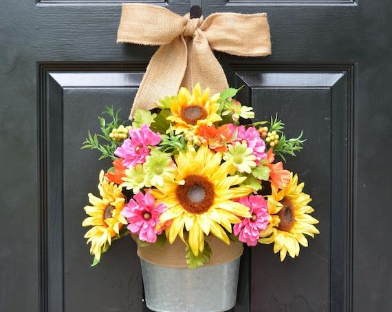 Sunflower Summer Wreath Alternative Door Bucket- Outdoor XL Yellow Floral Door Wreath Decor- Patio ARtificial Outdoor Wreath