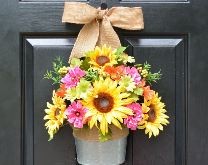 Sunflower Summer Wreath Alternative Door Bucket- Outdoor XL Yellow Floral Door Wreath Decor- Patio ARtificial Outdoor Wreath