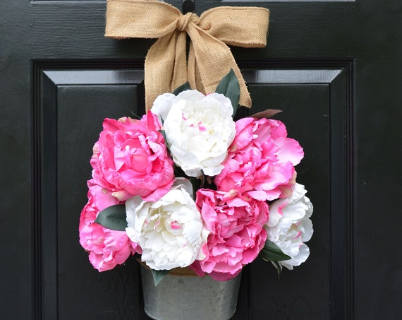 Peony Summer Wreath Alternative Door Bucket- Outdoor XL Pink Floral Summer Door Wreath Decor- Patio Artificial Outdoor Wreath