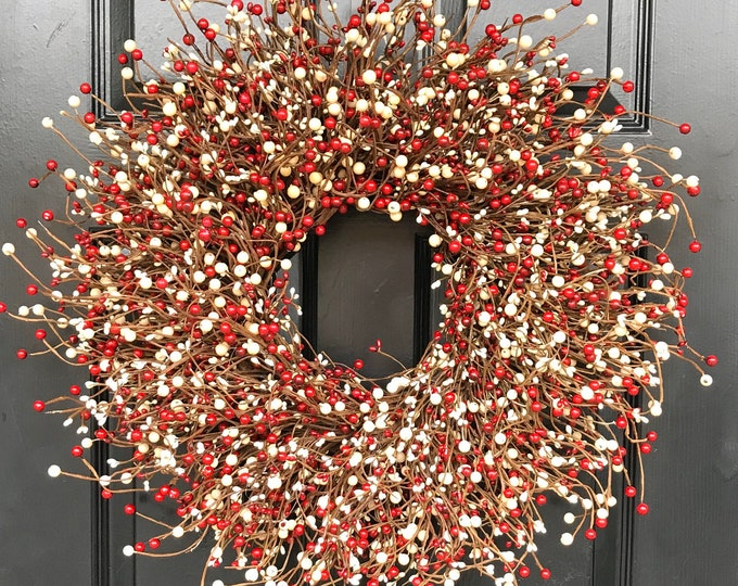 Valentines Day Wreath- Front Door Red and Cream Berry Wreath- Valentines Day -Door Wreath-Year Round Wreath-Christmas Wreath-Winter Wreath