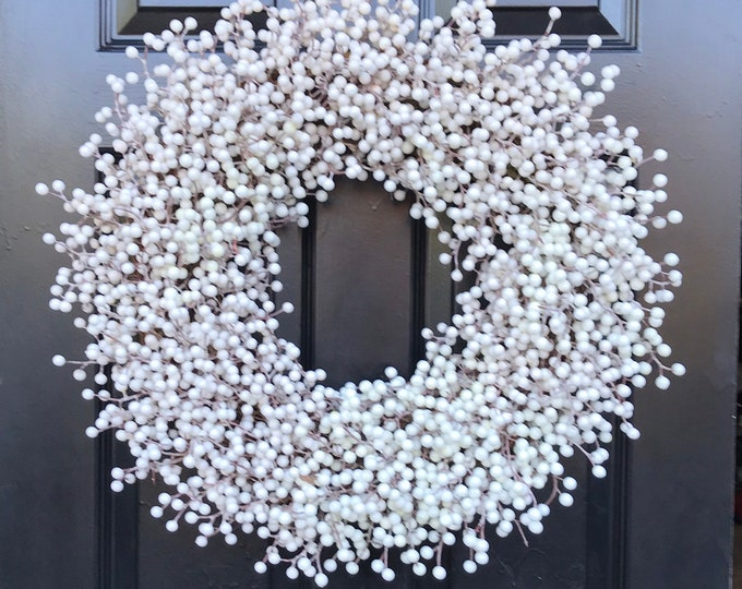 Weatherproof WHITE Berry Christmas Wreath, Outdoor Winter Wedding Berry Wreath, Winter Wreath Front Door, Year Round Wreath 14-28 inches