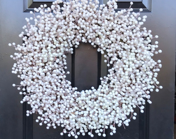 Weatherproof WHITE Berry Wreath, Outdoor Winter Wreath Wedding Berry Wreath, Winter Wreath Front Door, Year Round Wreath 14-28 inches