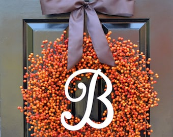 BESTSELLING Weatherproof Berry Monogram Fall Wreath- Outdoor Pumpkin Orange Fall Wreath-Autumn Berry Wreath- Fall Wedding Decor-WEATHERPROOF