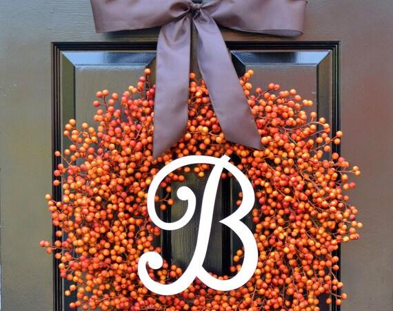 Fall Berry Wreaths,  Monogram Fall Wreaths, Orange Pumpkin Wreath with Bow WEATHERPROOF Berries