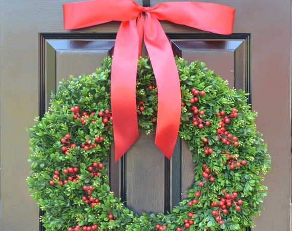 THIN Weatherproof Boxwood Red Berries Christmas Wreath- Holiday Wreaths- Winter Wreath- Holiday Decor-Christmas Decor-Christmas Decoration
