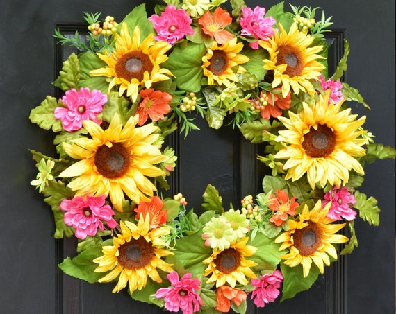 Sunflower Summer Wreath- Outdoor XL Yellow Floral Door Wreath Decor- Patio Outdoor Wreath