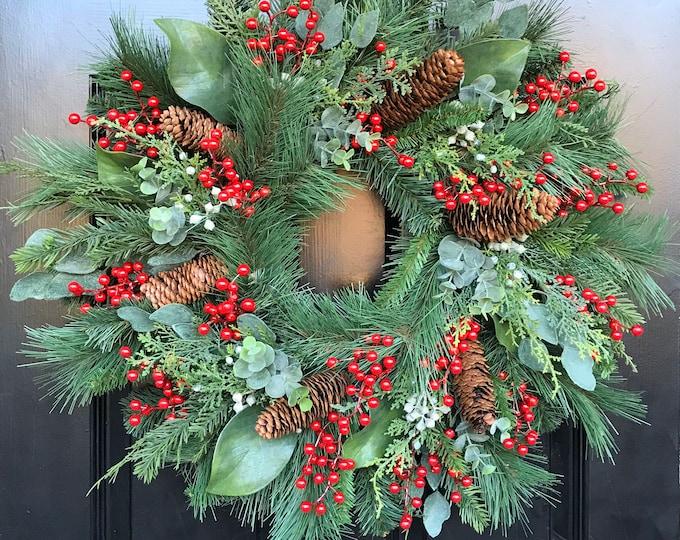 Pine Berry Magnolia Christmas Wreath Front Door Holiday Wreath Artificial Waterproof Winter Wreath Outdoor Door Wreath 24 inch shown
