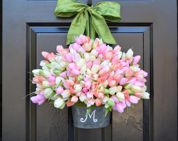 Spring Mother's Day Wreath, Tulip Door Bucket  Spring Wreath, Tulip Wreath Gift for Mom Wreath for Spring Custom Size