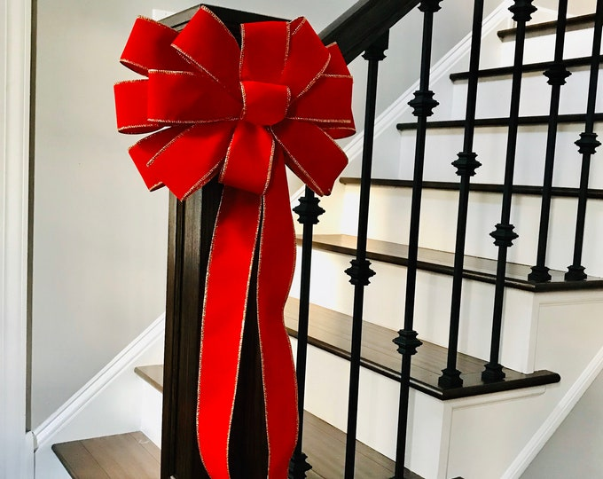 Christmas Wreath Bow, Christmas Bow for Wreath, Large Handmade Wired Red Velvet Outdoor Christmas Bow- 12 inch or extra long 24 inch tails