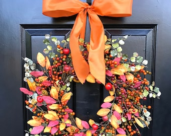 Quick FREE Ship Fall Wreath- Mixed Berry Autumn Wreath- Fall Decor- Front Door Fall Wreath