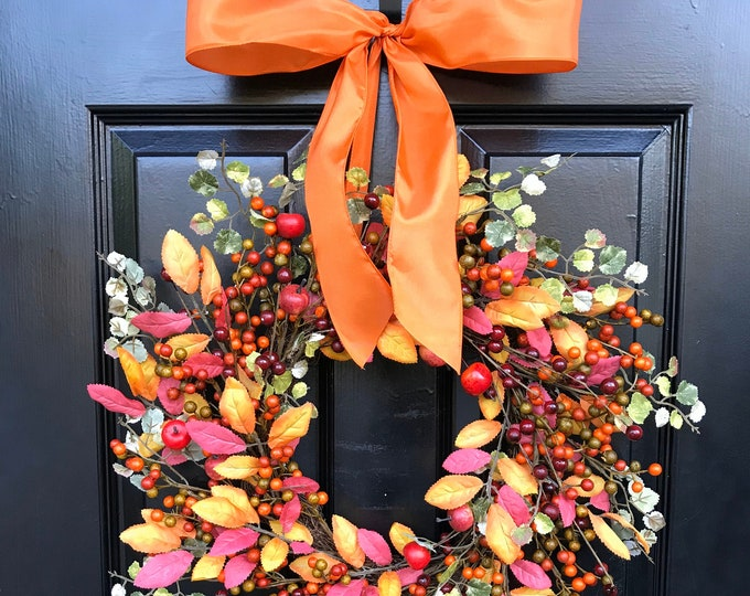 Quick Ship Fall Wreath- Mixed Berry Autumn Wreath- Fall Decor- Front Door Fall Wreath- SALE