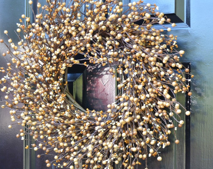 Caramel and Cream Fall Wreath- Berry Wreaths- Front Door Wreath- Neutral Year Round Wreath- Autumn Decoration- Fall Decor- Autumn Wreaths