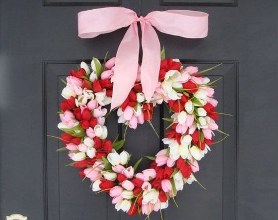 Valentine's Day Wreath Red Tulip Valentines Day Decor Red Hearth Wreath Wedding Decor Spring Wreath I Love You