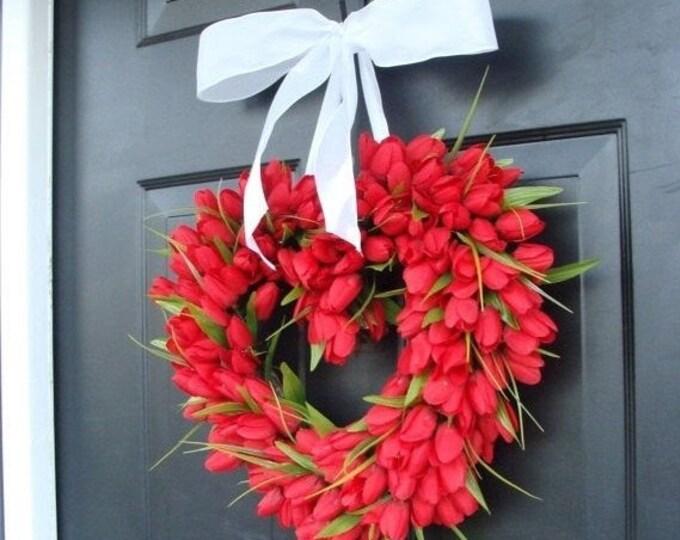 Tulip Heart Wreath Valentines Day Wreath Valentines Day Decor Love Heart Wedding Wreath Red Valentine Wreath, Valentines Day Gift