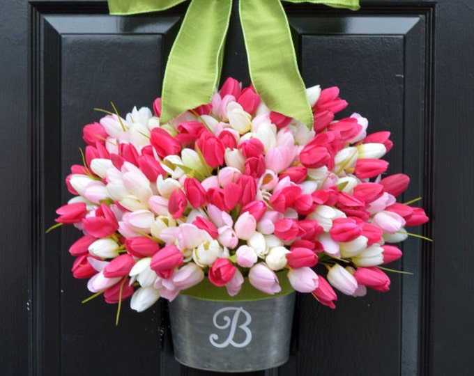 Easter Wreath Tulip Wreath- Spring Wreath-Spring Decor Monogram Wreath Front Door Bucket- Mother's Day Gift- Gift for Mom- Wreath for Spring