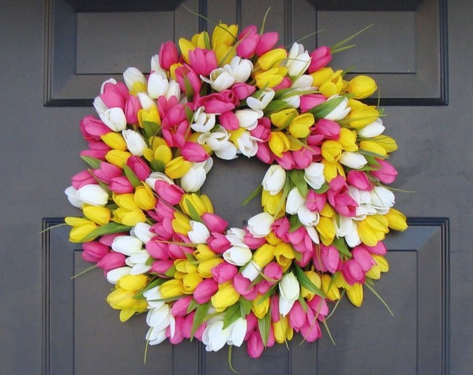 Silk THIN Spring Tulip Wreath, Storm Door Wreaths, Front Door Outdoor Wreath,  Front Door Spring Decor, Sizes 14-24 inch available