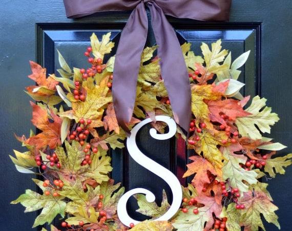 LAST ONE Fall Leaf Wreath- Autumn Wreath- Orange Berries- Fall Decor- Monogram Wreath- Front Door Wreaths- Fall Leaves- Autumn Decorations