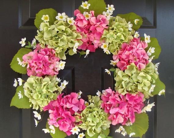 Summer Wreath- Mother's Day Wreath- Hydrangea Spring Wreath- Summer Wreaths- Mother's Day Gift- Year Round Wreath