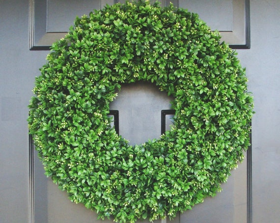 Faux Boxwood Wreaths- Boxwood Decor- Year Round Wreaths- Spring Wreath Decor- Wall Art- Sizes 16-26 inches