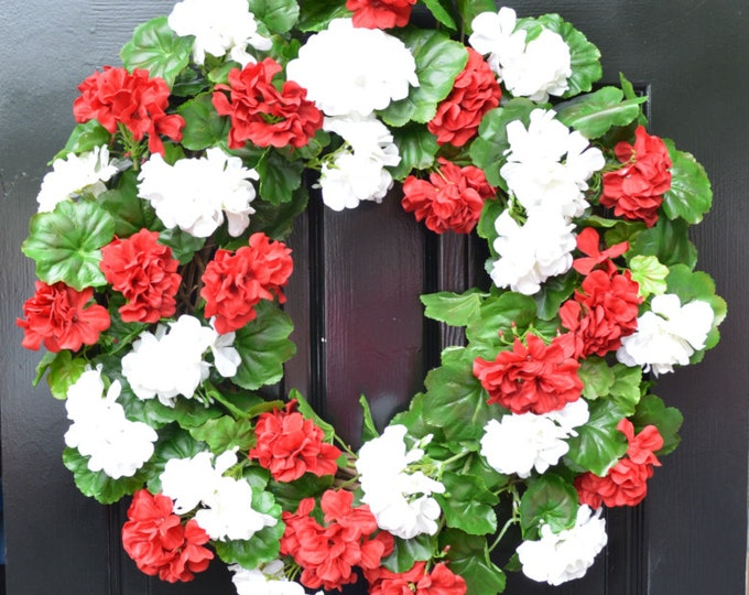 Geranium Summer Wreath, Geranium Wreath,  Outdoor Summer Wreaths, Front Door Wreath,  Etsy Spring Wreath, Red White or Pink Geranium Wreath