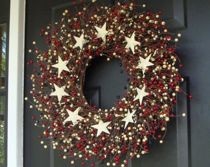 July 4th Berry Wreath, Fourth of July Decor, Summer Patriotic Wreath, Memorial Day Decor, July 4th Decoration