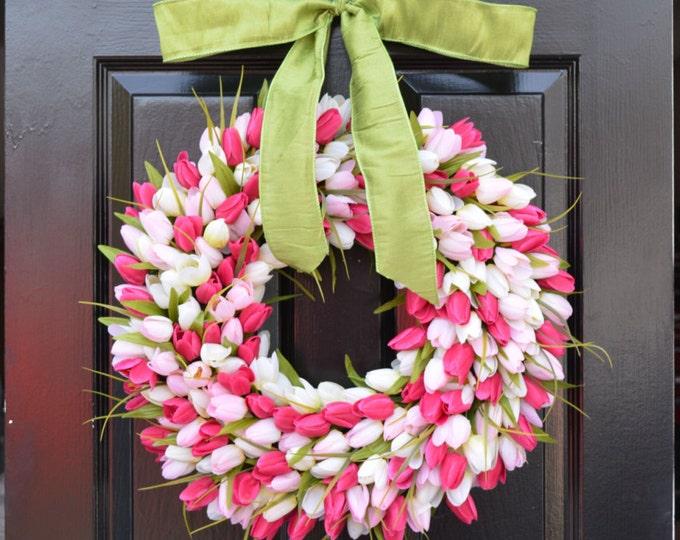 Pink Tulip Spring Wreath- Door Wreath- Easter Wreath- Tulip Wreath- 20 inch shown, custom colors- The Original Tulip Wreath