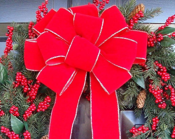 10 Weatherproof Handmade Outdoor Christmas Bows, Bulk Christmas Bows, Red Velvet Christmas Wreath Bows, Christmas Decor