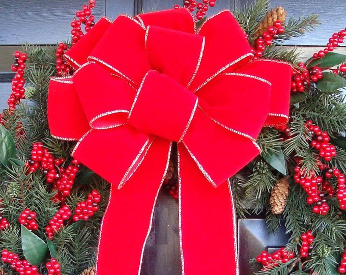 10 XL Weatherproof Handmade Outdoor Christmas Bows Bulk Christmas Bows Red Velvet Christmas Wreath Bow Christmas Decor On Sale