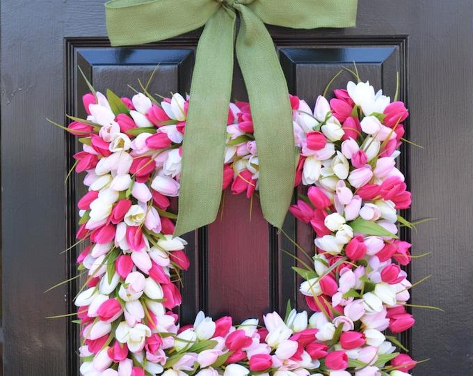 Pink Tulip Square Spring Wreath- Door Wreath- Easter Wreath- Tulip Wreath- 20 inch shown, custom colors- The Original Tulip Wreath