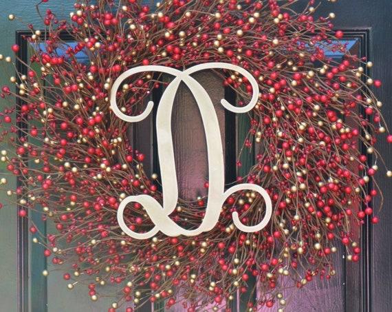 Winter Berry Wreath, Christmas Wreath, Wedding Wreath- Door Wreath- Christmas Wreath- Red Gold Christmas Holiday Decorations Outdoor Decor