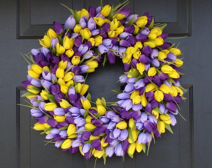 Spring Wreath- Front Door Wreath- Lavender Wreath- Spring Wreath for Door- Summer Wreath 18 inch