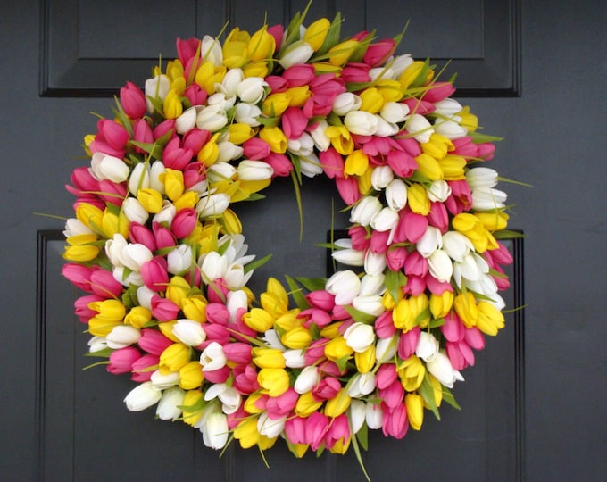 Custom Spring Wreath, Spring Decor, Mother's Day Wreath,  Wall Decor, Custom Colors, Spring Decoration  The ORIGINAL Tulip Wreath