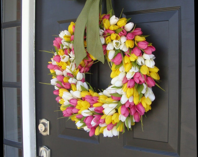 Spring Wreath- Summer Wreath- Mother's Day Gift- Summer Decor- Burlap Ribbon, Custom Colors The ORIGINAL Tulip Wreath