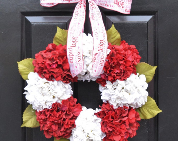 Valentine's Hydrangea Wreath- Hydrangea Wreaths - Spring Wreaths- Year Round Wreaths- Flower Wreaths- Christmas Wreath
