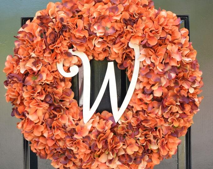 Fall Wreath Monogram Orange Hydrangea Wreath Fall Monogram Wreath, Orange Hydrangea Wreath, Autumn Decor Thanksgiving Decor Fall Decor