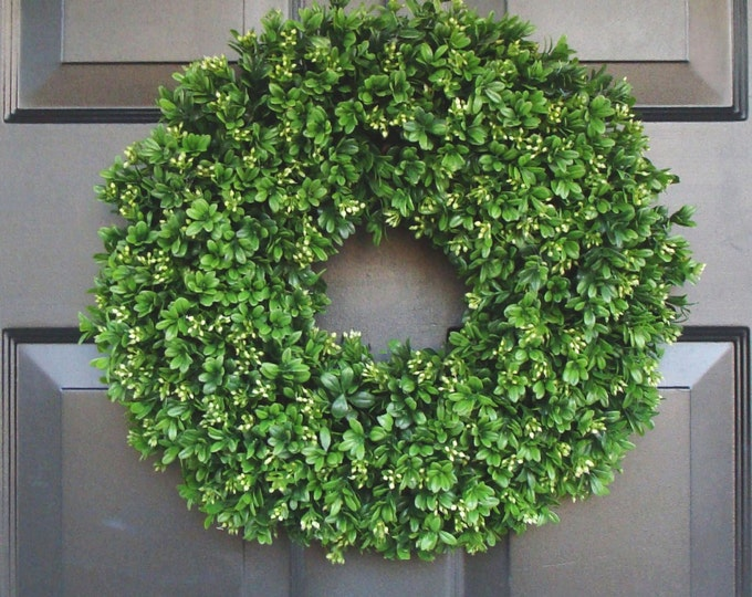 Handmade Extra Full Artificial Boxwood Wreath-Front Door Wreath-Wedding Decor-Sizes 14 to 30 inches Weatherproof- Spring Wreath