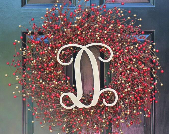 Winter Berry Wreath- Winter Wreath- Wedding Wreath- Door Wreath- Christmas Wreath- Red and Gold Christmas- Winter Decorations- Winter Decor