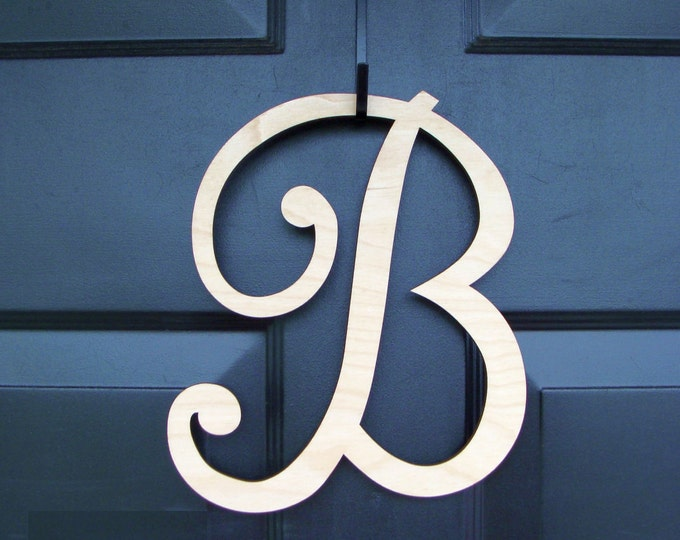 Unfinished Wood Monogram- Wedding Gift- Wall Hanging- Couple's Monogram- Wreath Accessory- Wedding Decor- Front Door Hanging