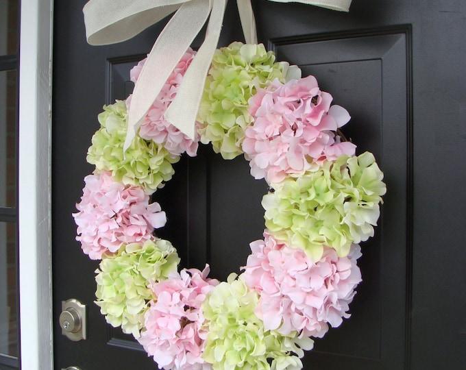 Spring Wreath, Hydrangea Wreath, Front Door Spring Wreath- 21 Inch Hydrangea Wreath- Spring Wreath for Door