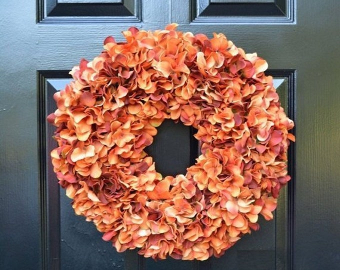 Orange Fall Wreaths, Autumn Monogram Hydrangea Wreath, Ready to Ship , Orange Hydrangea Wreath, Fall Decor Halloween Decor