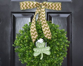 Cottage Chic Square Boxwood Wreath Shabby Chic Wreath Spring Wreath 16 INCH THIN Wreath for Storm Door Housewarming Gift Kitchen Decor